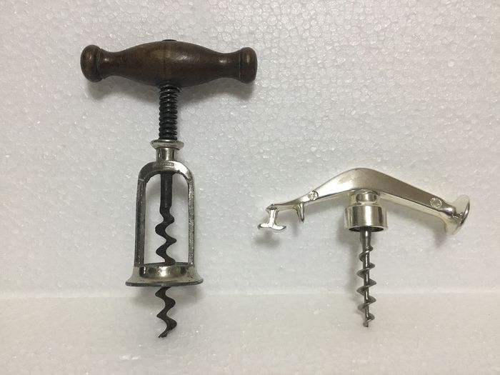 G. Usbeck - Hercules - Spring corkscrew and corkscrew with hammer and bottle opener - Silverplate, Wood, Metal