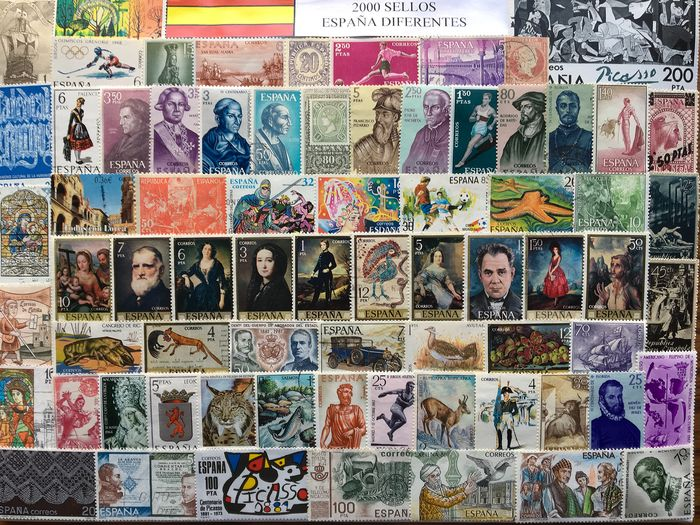 Spain 1855/2000 - Collection of 2,000 different stamps from Spain