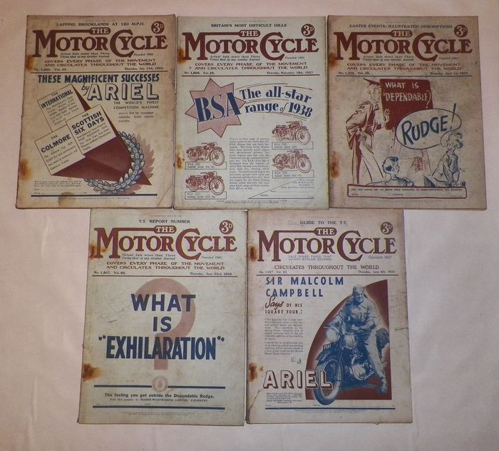 5 x Editions Of ' The Motorcycle '  Magazine - 1935-1939