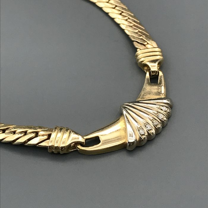 18 kt. White gold, Yellow gold - Necklace - Diamonds