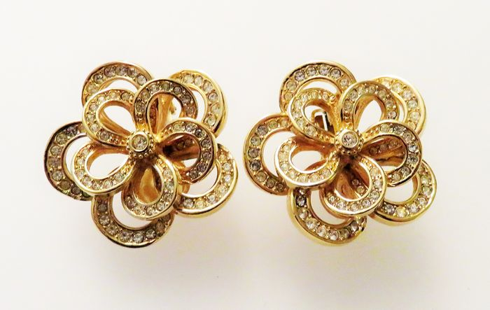 Christian Dior Gold-plated - Vintage statement earrings / ear clips with rhinestones