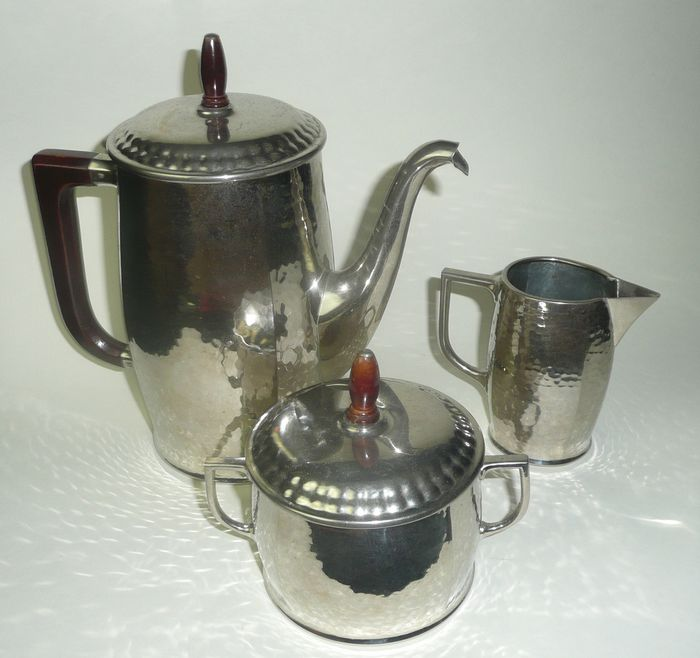 WMF - Coffee pot with milk jug and sugar bowl, around 1910 (3) - Art Nouveau - Silverplate