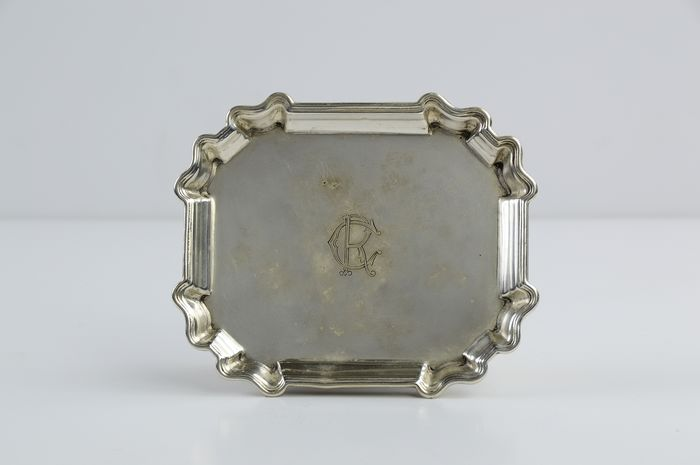 Plate CR Silver 800 - .800 silver - Italy - First half 20th century