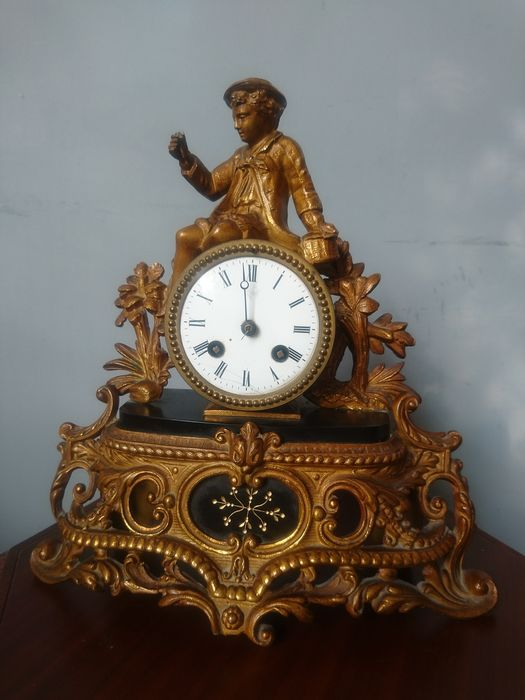 Tabletop clock - P.H.Mourey - Gold plated, Marble - 19th century