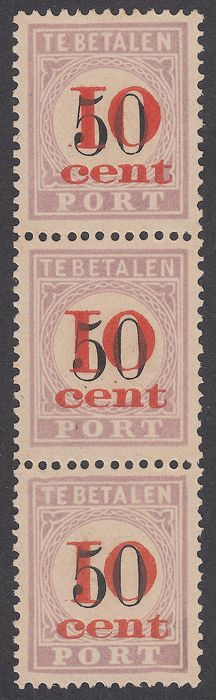 Suriname 1911 - Postage due stamps Aid issue, types I, II and III se-tenants - NVPH P16