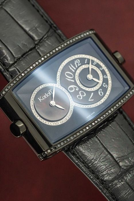 Korloff - Diamonds for 0.54 Carat Two Time Zones Mother of Pearl Crocodile Strap Limited Edition Swiss Made - DT52B/499 - Unisex - BRAND NEW