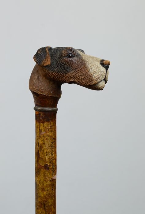 Walking stick, shaped like a Fox Terrier - Bone, Brass, Wood