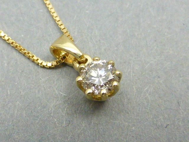 14 kt. Yellow gold - Necklace with pendant - 0.22 ct Diamond