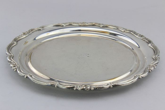 Antique round plate/tray - Silver plated