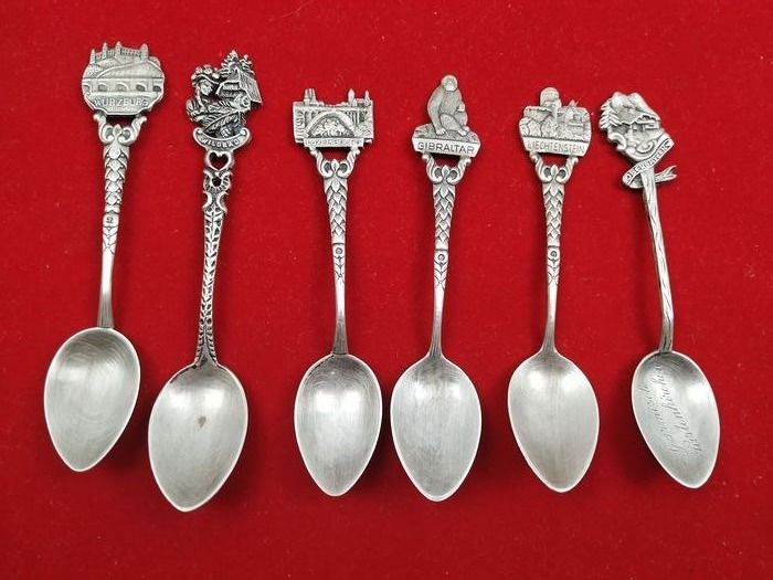 6 teaspoons from different countries - Silverplate