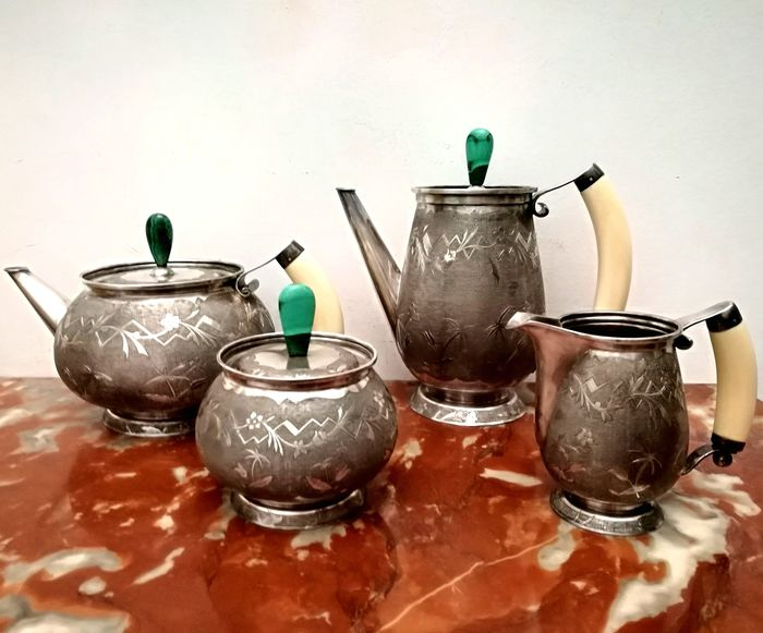 Particular Service from The '/ Caffe' (4) - .800 silver - Bernasconi Milano - Italy - First half 20th century