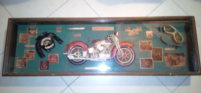 Vintage painting / display case - Harley Davidson - Quadro/teca Harley Davidson Hell's Angels - 1980-1989
