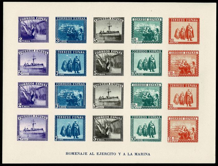 Spain 1938 - In honour of the Army and the Navy. Imperforated miniature sheet - Edifil 850
