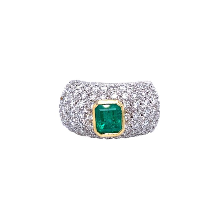 18 kt. Gold, White gold - Ring - 1.20 ct Emerald - Diamonds