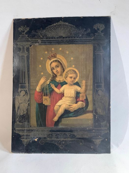 Vierge de Carmen  - Old impression ---- 69cm.H - Renaissance - Gilt, Color