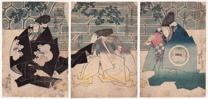 "Original woodblock print, Τρίπτυχο - Utagawa Kunisada (1786-1865) - ""Kanadehon Chushingura"" 仮名手本忠臣蔵 (The Treasury of Loyal Retainers)  - 1833"