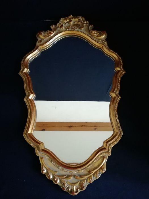 Beautiful decorative French wall mirror with wooden frame - France - period circa 1960 - wood - mirror glass