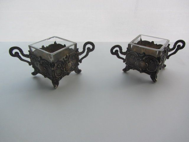Pair of antique salerons-salle holders - .800 silver - Europe - 1890-1910