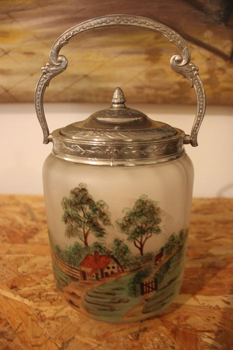 Frosted glass cookie jar with enamelled paint signed SIVCA - frosted glass enamelled paint
