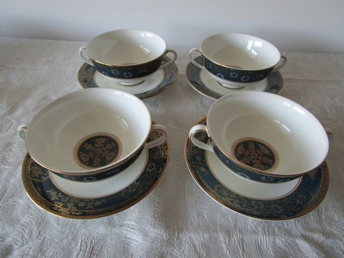 Royal Doulton - 4 soup bowls with CARLYLE dishes (8) - Porcelain