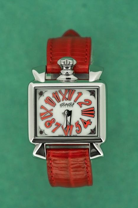 GaGà Milano - Watch Baby Napoleone 30MM White mother of Pearl Dial Red leather strap Swiss Made  - 6035 - Dames - BRAND NEW