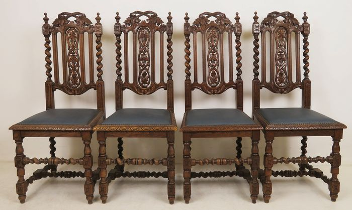 Super Set Of Dining Room Chairs 4 Oak Artificial Leather Approx 1890 Catawiki Creativecarmelina Interior Chair Design Creativecarmelinacom