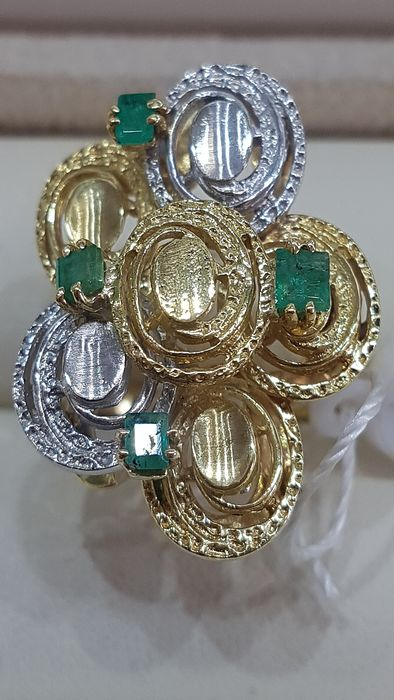 18 kt. Bicolour, Yellow gold - Ring - 0.10 ct Emerald - Emeralds