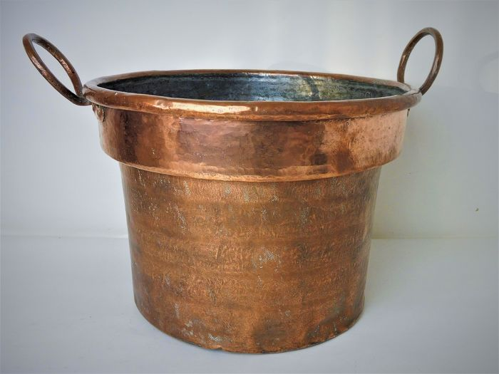 Handgemaakt - Big Beautiful antique copper kettle, wood box, tub, anchor, (1) - Red Copper