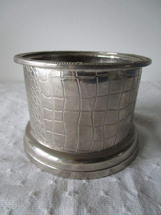 Beautiful silver-plated bottle holder with wooden bottom - silver-plated wood