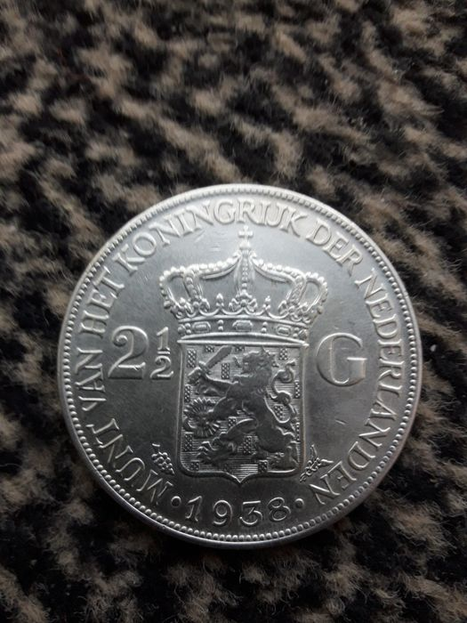 The Netherlands - 2 1/2 Gulden 1938 Grof Haar Wilhelmina - Silver