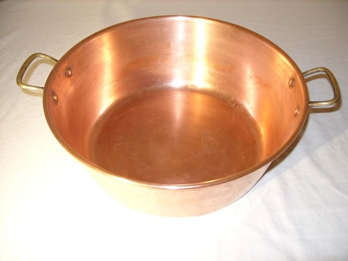A real French jam pan, gastronomy quality - copper, brass