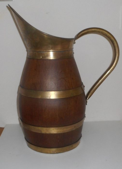 antique oak French wine / cider jug - wood and copper