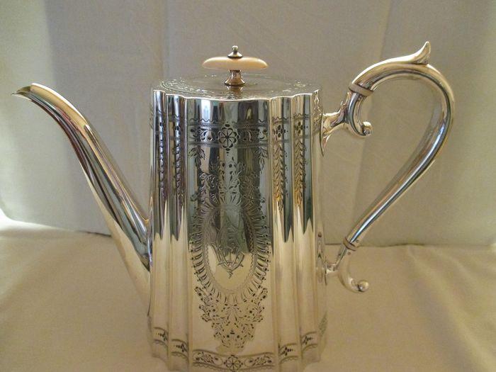 Antique silvered coffee can - Silverplate