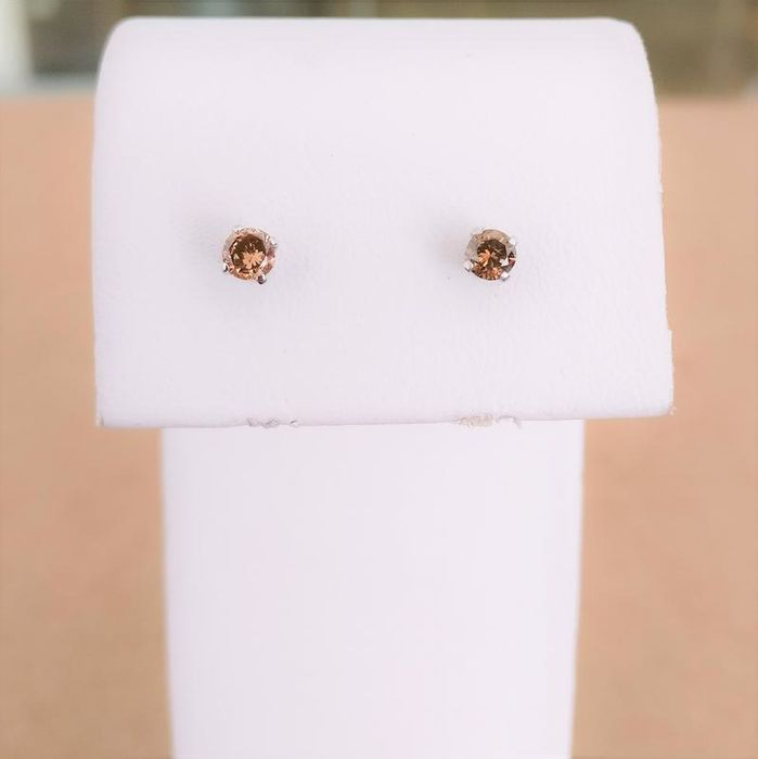 18 kt. White gold - Earrings - 0.27 ct Diamond
