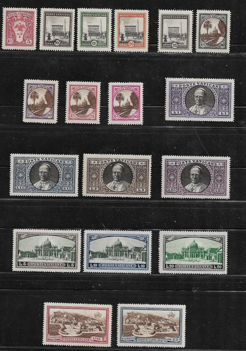 Vatikanstadt 1933 - Gardens and Medallions 18 values with express stamps - Sassone  N. 19/34+Exp 3/4
