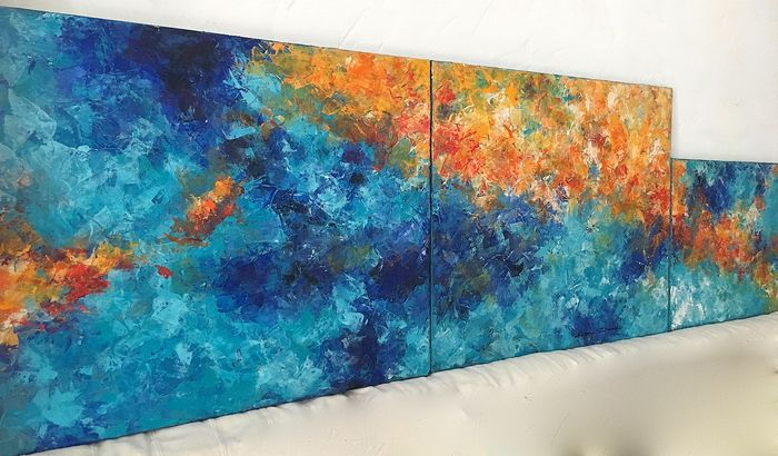 Dam Domido - Triptyque Blue planet : 151 cm