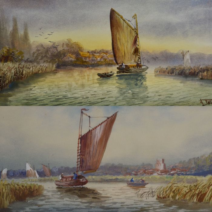 A. Turner (20th century) - A pair of shipping scenes
