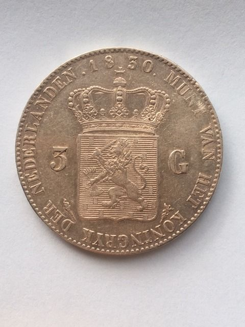 Pays-Bas - 3 Gulden 1830 over 20 Willem I - Argent