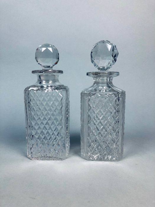 Pair Victorian hobnail cut decanters with original prism stopper (2) - Victorian Style