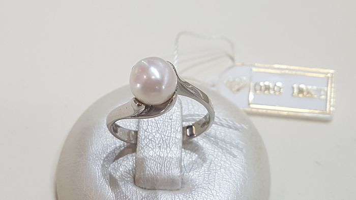 18 kt. Freshwater pearl, White gold, 7.3-7.5 mm - Ring