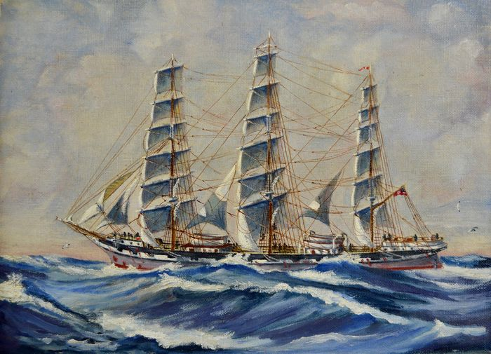 English School (20th century) - A sailing vessel on the high seas