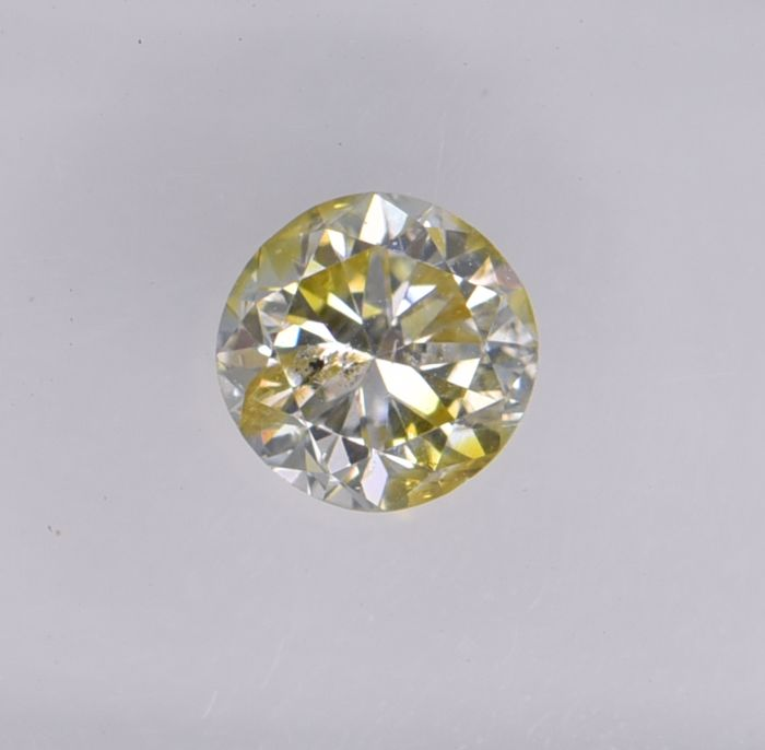 1 pcs Diamant - 0.45 ct - Rond - fancy yellow - SI2, No Reserve Price!