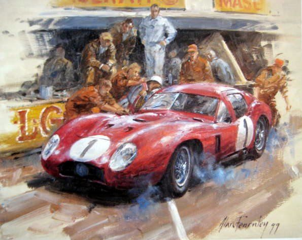 Fine Art Print - Maserati 450S Coupe #1 Moss/Schell Le Mans - By Alan Fearnley - 1957
