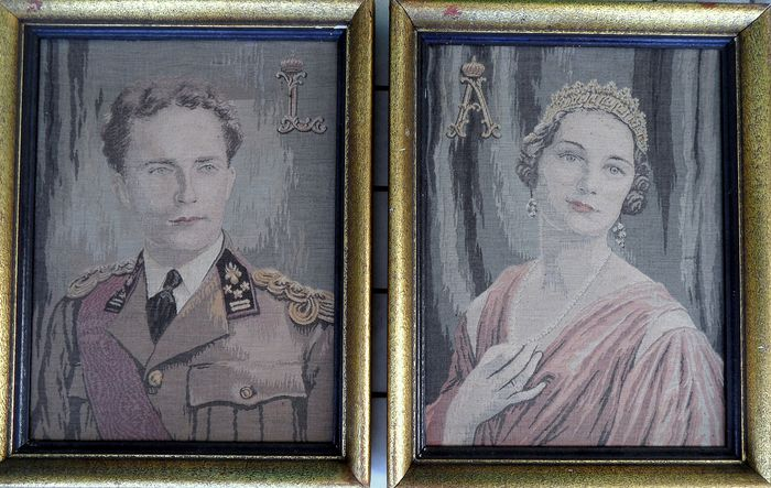 Leopold and Astrid (2) - two portraits woven in fabric, framed - Early 20th century
