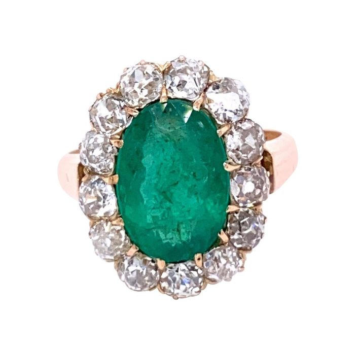18 kt. Gold, Yellow gold - Ring - 3.60 ct Emerald - Diamonds