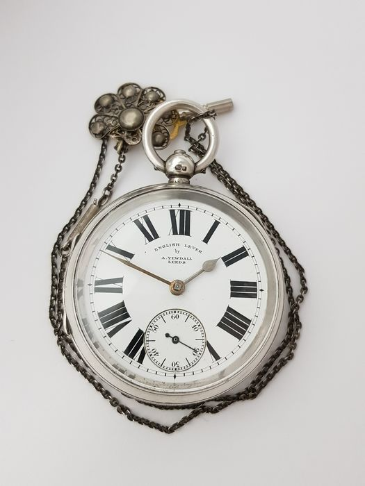 1902  - England Chester - A. Yewdall Leeds - English Lever - Silver Pocket Watch  - NO RESERVE PRICE - Homem - 1901-1949