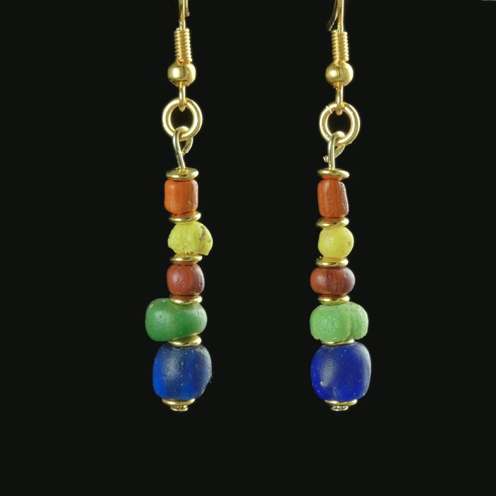 Ancient Roman Glass Earrings with multicoloured glass beads - (1)