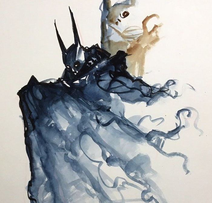 Batman - Alfonso Azpiri - Original Batman Aquarel - Original Painting