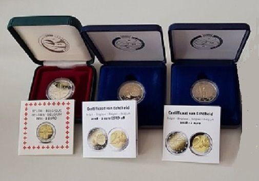 Belgium - 2 Euro 2014/2018 in original case with certificate (3 coins)