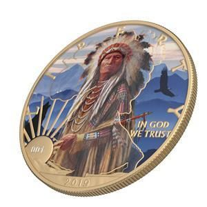 "USA - 1 Dollar 2019 Liberty "" Faces of America- Sitting Bull  "" with Varnish  - 1 Oz - Silver"